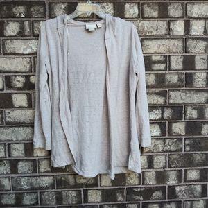 Cynthia Rowley 100% linen cream hoodie cardigan